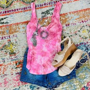 Free People pink tie dye tank with crochet XS
